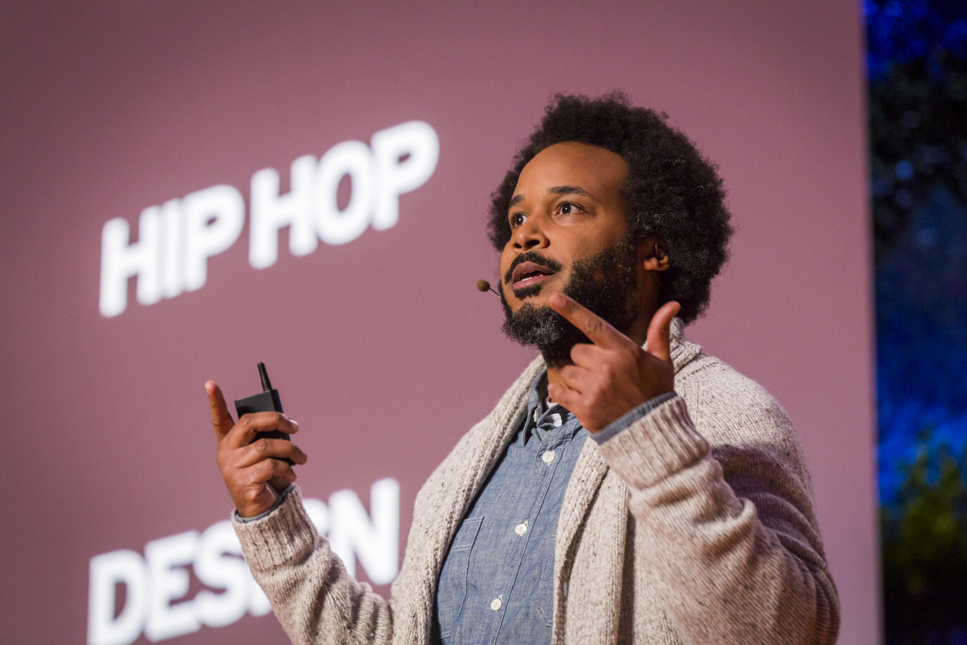 Tahir Hemphill created the Hip Hop Word count to study the lyrics of 50,000 hip hop songs. Photo: Ryan Lash/TED