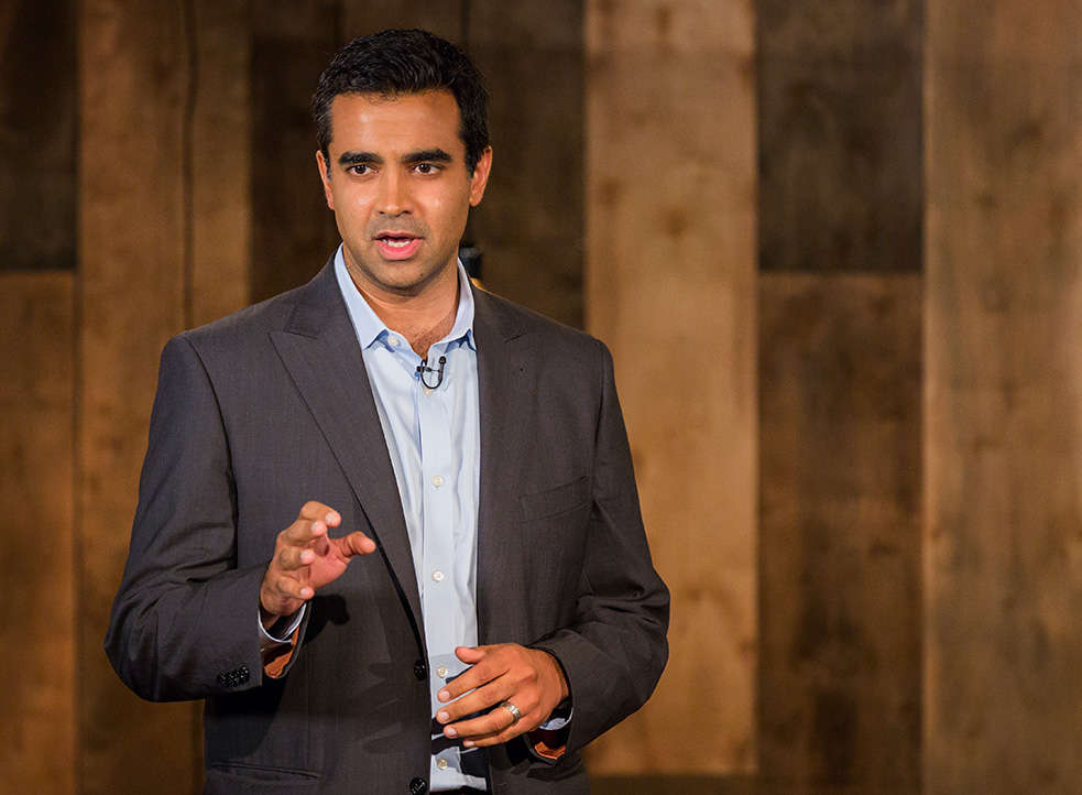 Rishi Manchanda gives a talk in the TED office, about how doctors can think upstream to the real roots of illness. Photo: Ryan Lash/TED
