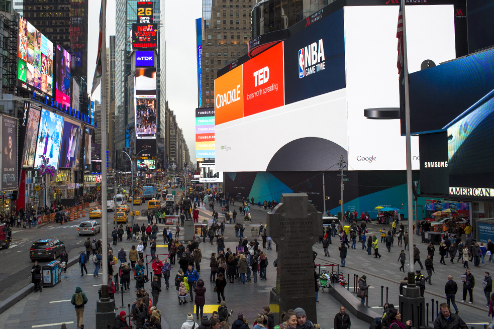 TED's logo is live in Times Square, on a billboard for Google's Nexus Player. Photo: Ryan Lash/TED