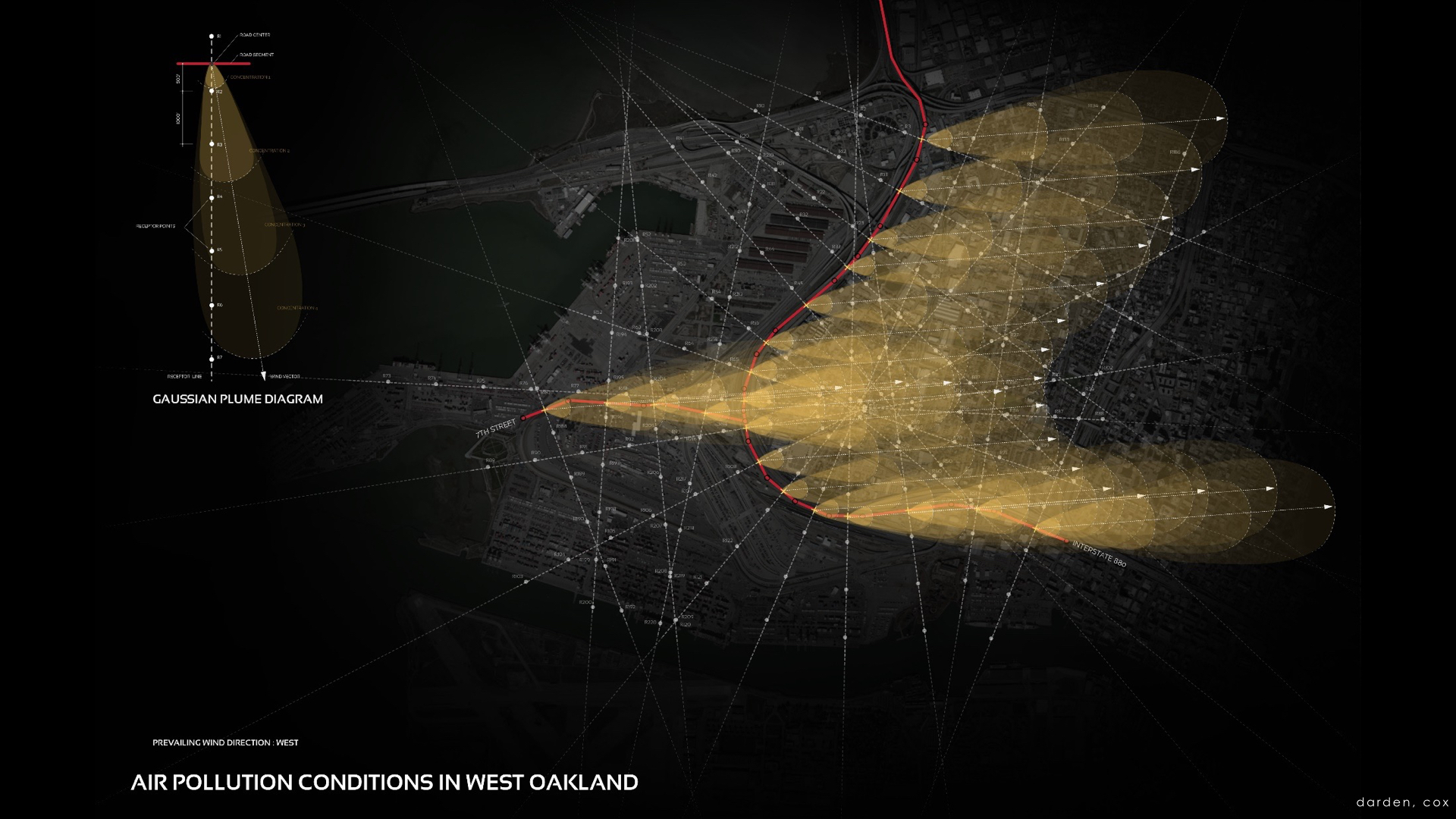 An analysis of particulate matter traveling over West Oakland. Image: Prentiss Darden, Silvia Cox