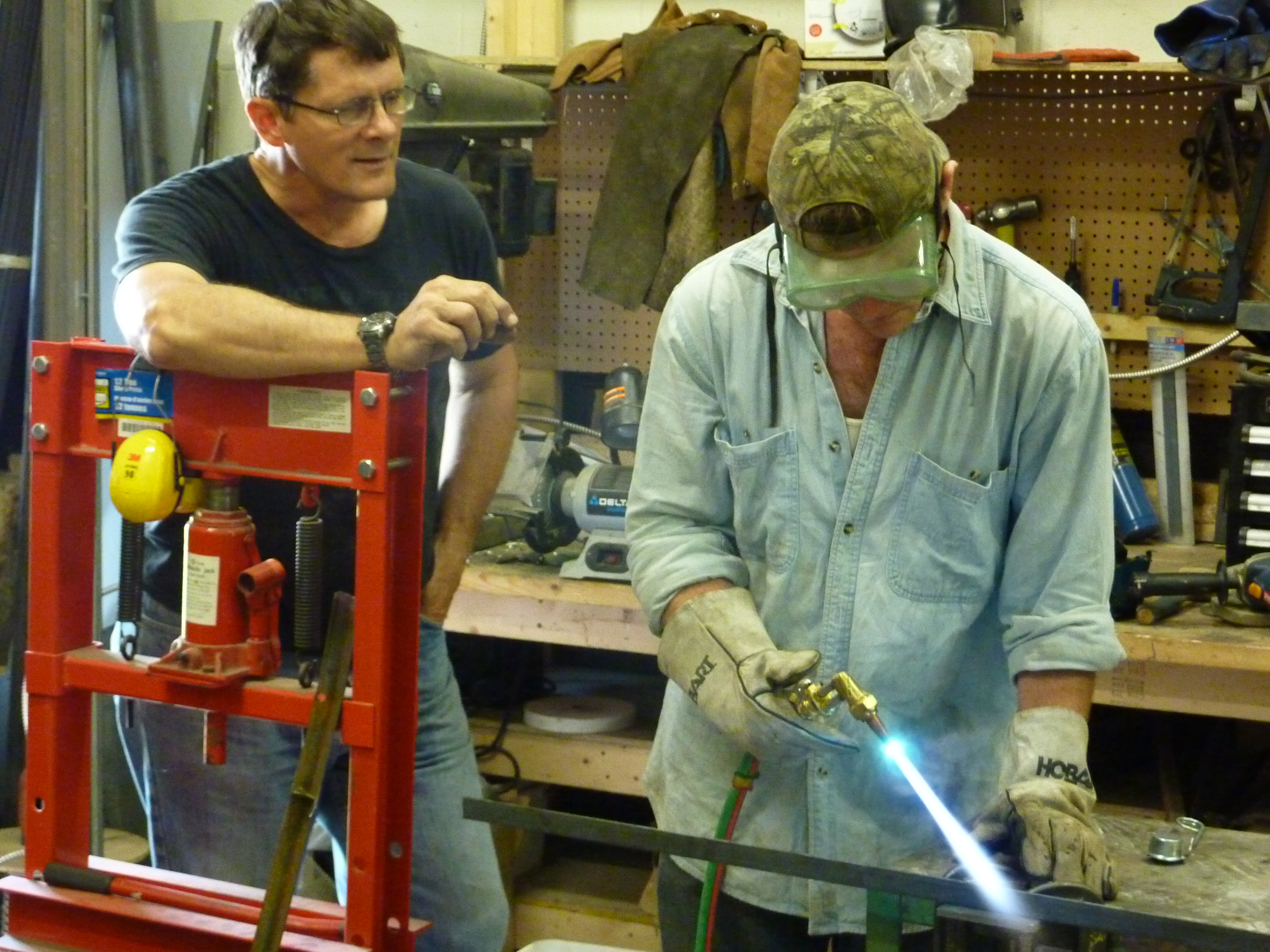 Workshop participants at Factor E Farm are given crash courses in such manufacturing skills as using a cutting torch. Photo: Open Source Ecology.