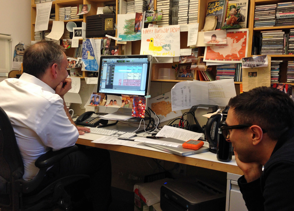 Dave Isay, the founder of StoryCorps, edits Barack Obama's interview with StoryCorps executive producer Michael Garofalo.  Photo: Amy S. Choi