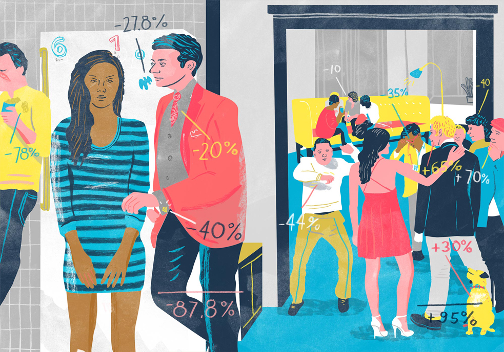 What's the probability of meeting your true love at a party? Find out in Hannah Fry's new book, The Mathematics of Love. Illustration: Christine Rösch