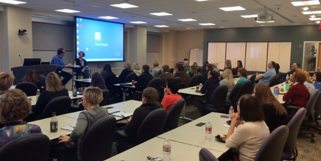 For the viewing party, about 40 people packed into a training room in State Street's Kansas City office. Bailey estimates that half of them knew what her talk was about — they had seen the video online, or had heard about it — while the other half had no idea.