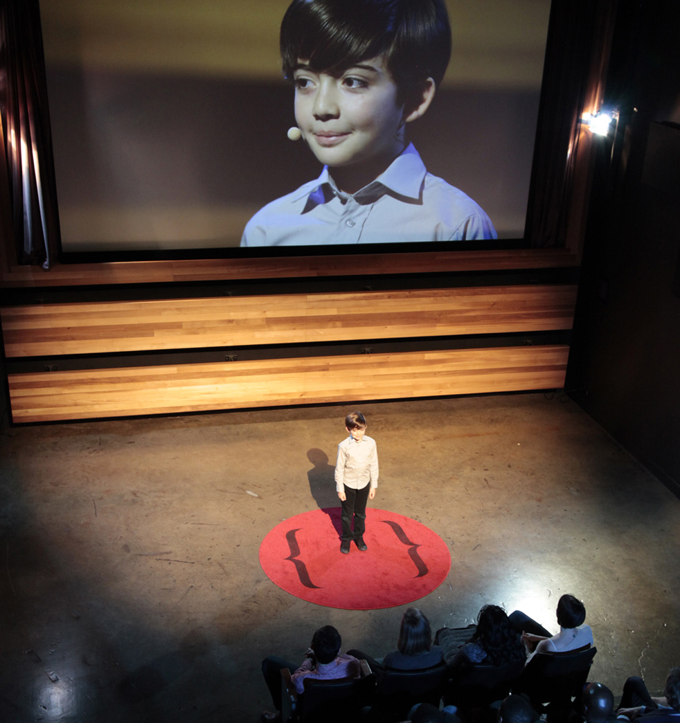 "In ""The Thought Leader"" by Liz Magic Laser, 10-year-old Alex Ammerman gives a TED Talk that ponders the ""dark chasm of meaninglessness."" Photo: Courtesy of Liz Magic Laser"
