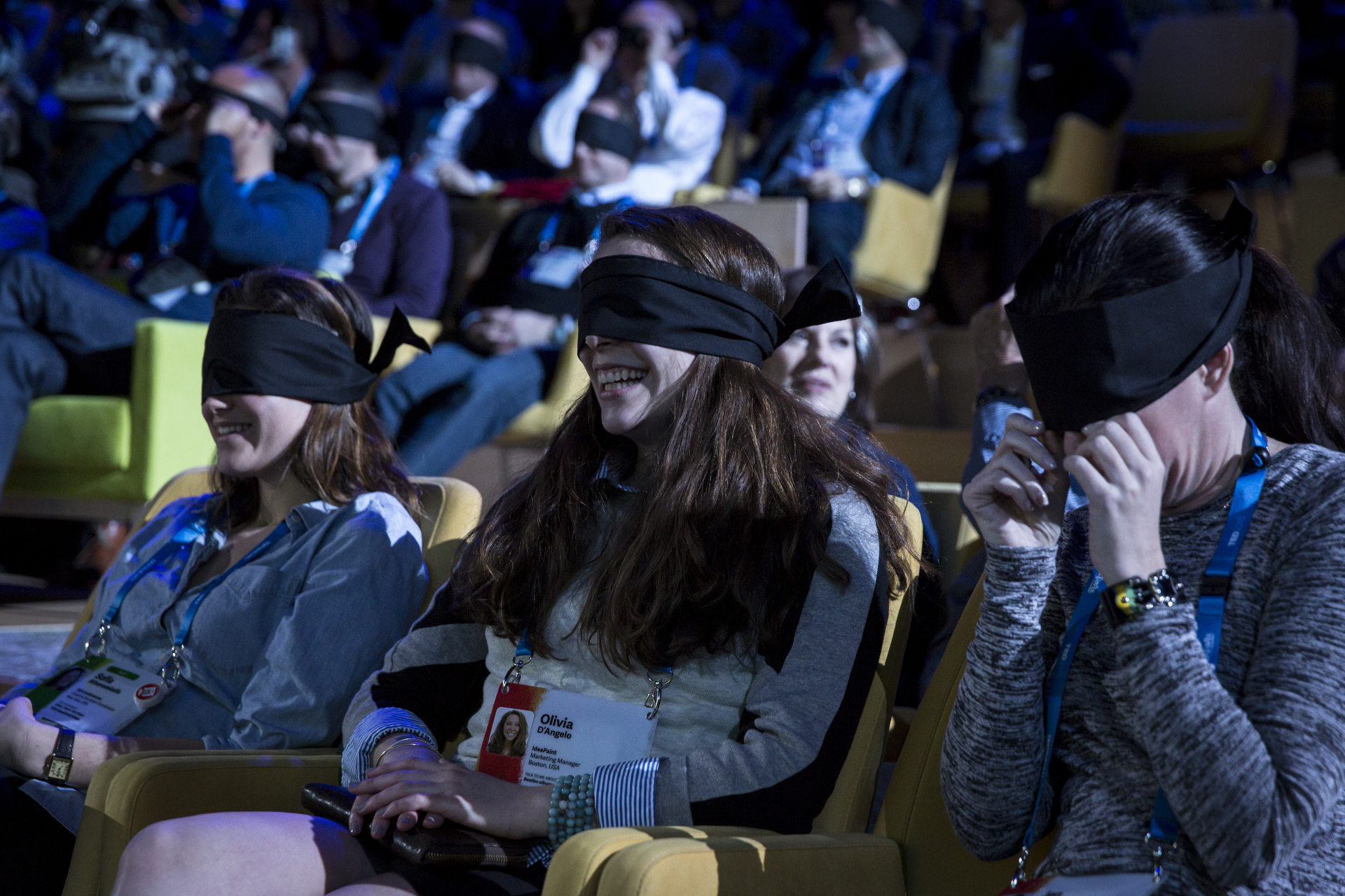 For Marina Abramović's TED Talk, she had the audience wear blindfolds for a full five minutes. Photo: Bret Hartman/TED