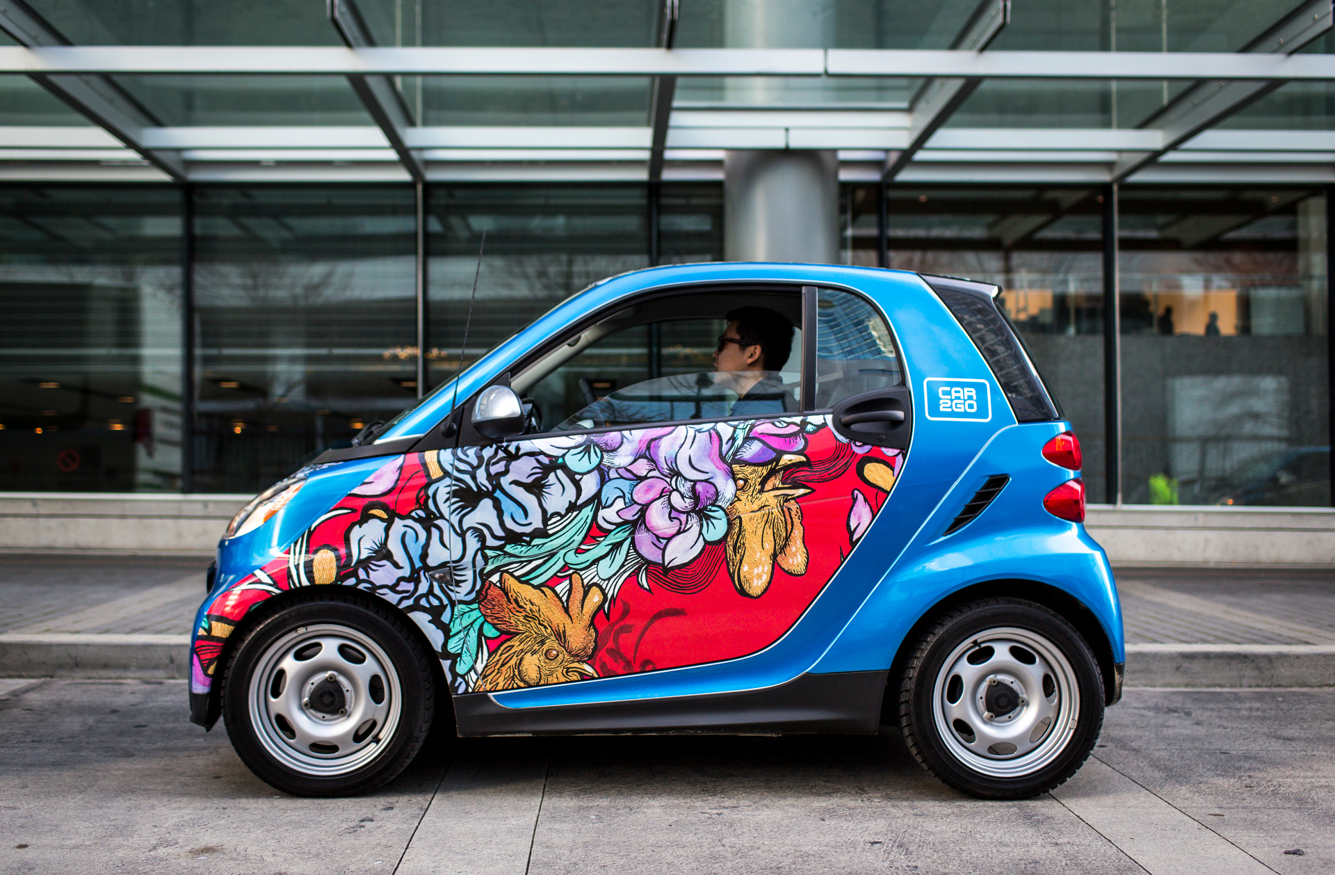 Car2Go teamed up with students at the Emily Carr University of Art and Design to wrap vehicles with art inspired by TED2015's theme, Truth and Dare. These cars shuttled attendees to events. Photo: James Duncan Davidson/TED