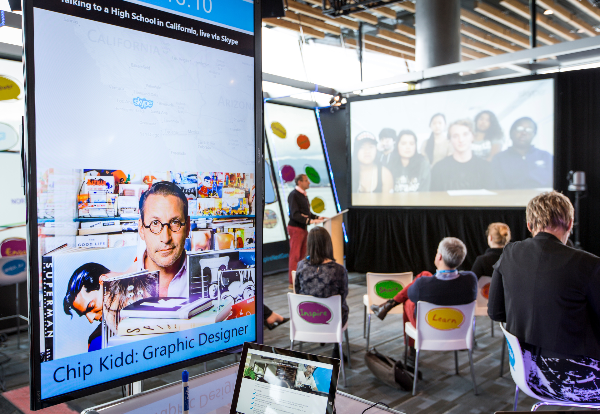 Chip Kidd chats with a classroom of students in Australia thanks to the magic of Skype in the Classroom.  Photo: Ryan Lash/TED