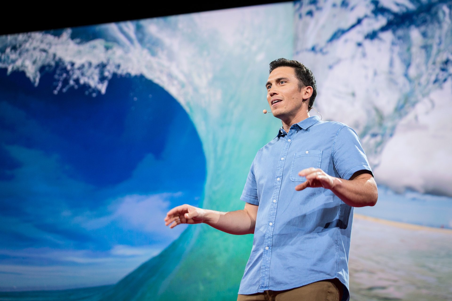 Chris Burkard made the audience chilly with his beautiful images of arctic surfing. Read more about his talk. Photo: Bret Hartman/TED http://blog.ted.com/passion-and-consequence-the-inspiring-talks-in-session-11-of-ted2015/