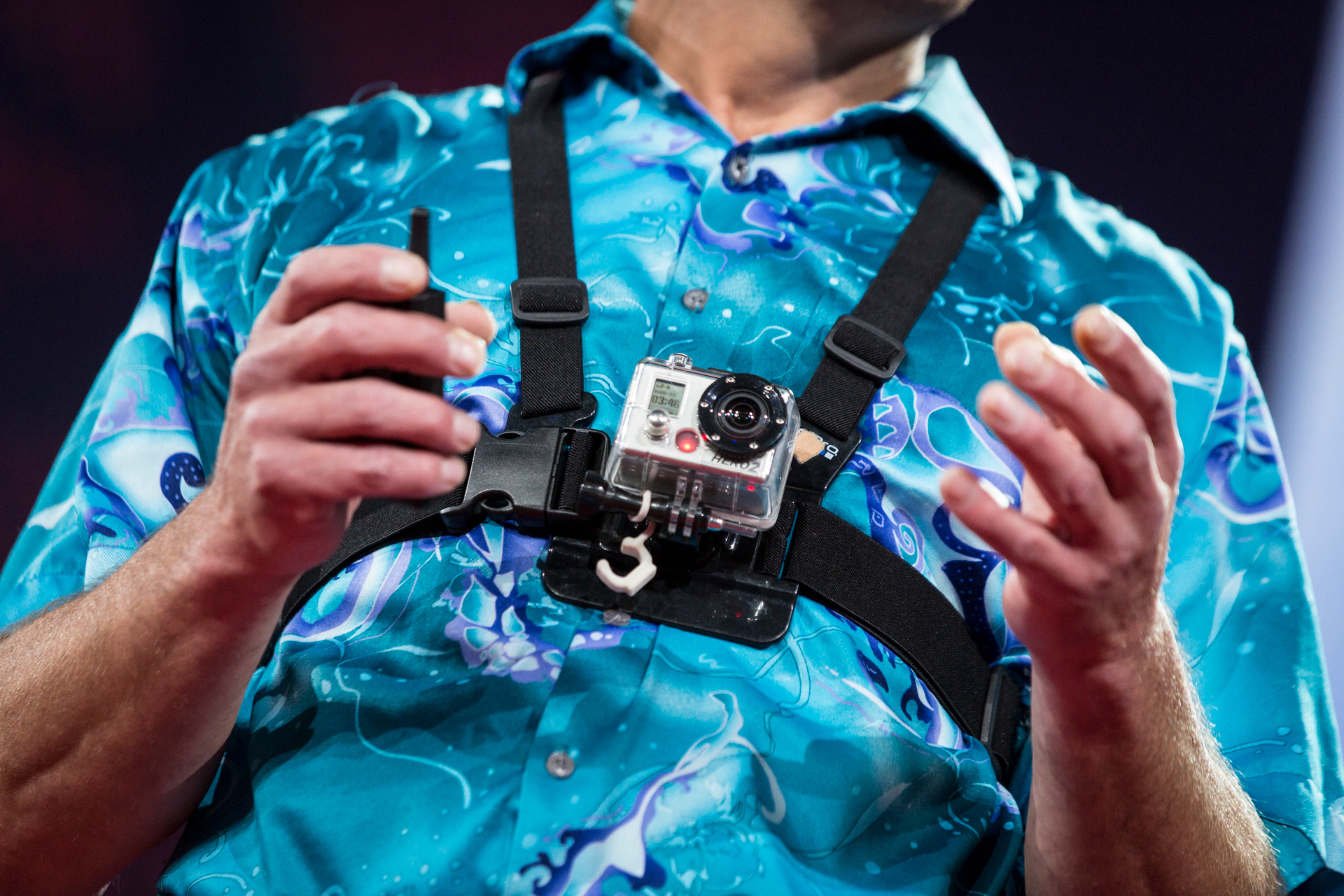 Adventurer Chuck Berry spoke about the impact of wearable sports cameras, while wearing two on the TED stage. Photo: Bret Hartman/TED