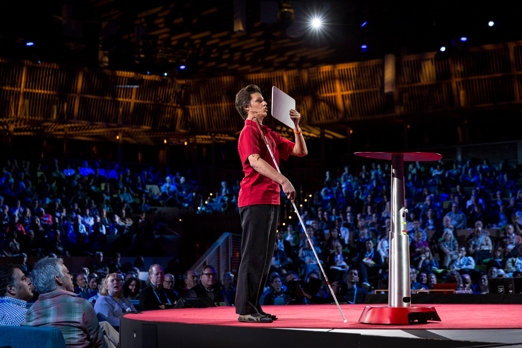 Daniel Kish demonstrates how humans can use echolocation. Read our interview with Kish. Photo: Bret Hartman/TED