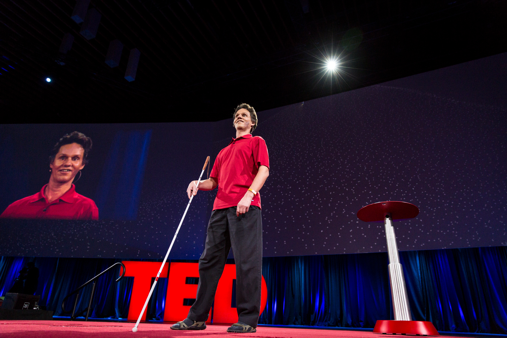 Daniel Kish speaks at TED2015 - Truth and Dare, Session 2. Photo: Bret Hartman/TED