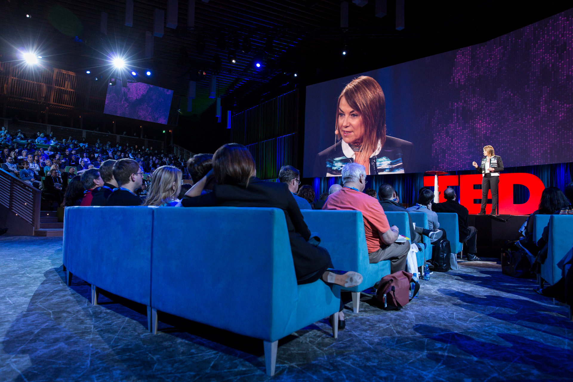 """Esther Perel unpacks the ancient taboo of infidelity -- """"the only commandment repeated twice in the Bible."""" Photo: Bret Hartman/TED"""