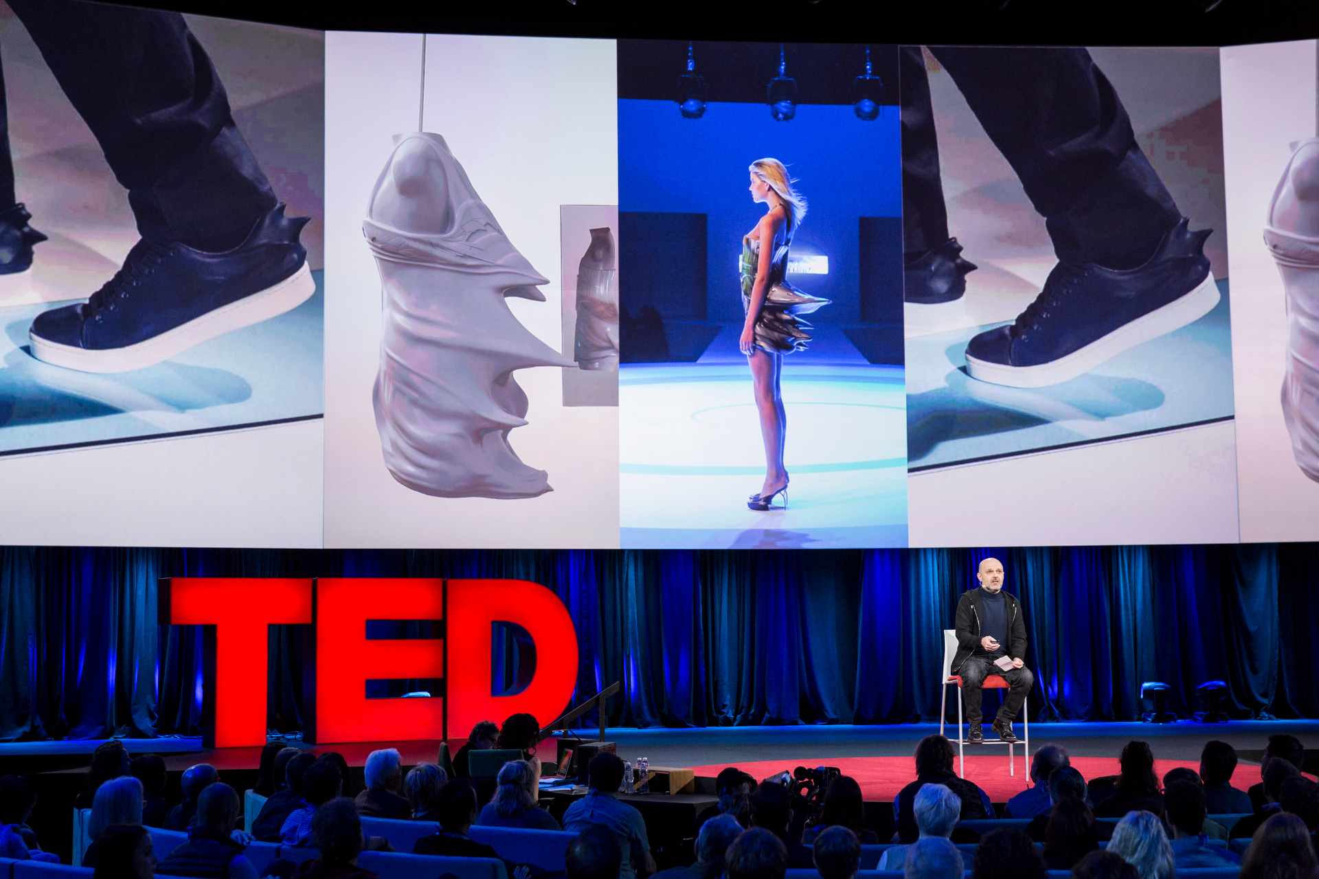 In Session 11, fashion designer Hussein Chalayan shared his unusual take on fashion. He shoed how a table can become a skirt and how this he makes a motif of speed. Photo: Bret Hartman/TED http://blog.ted.com/passion-and-consequence-the-inspiring-talks-in-session-11-of-ted2015/