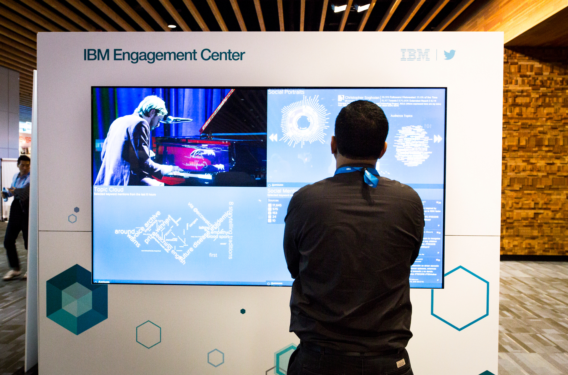 At The Engagement Center powered by IBM, attendees could see incredible data on TED2015, visualized for easy understandability. Photo: Ryan Lash/TED