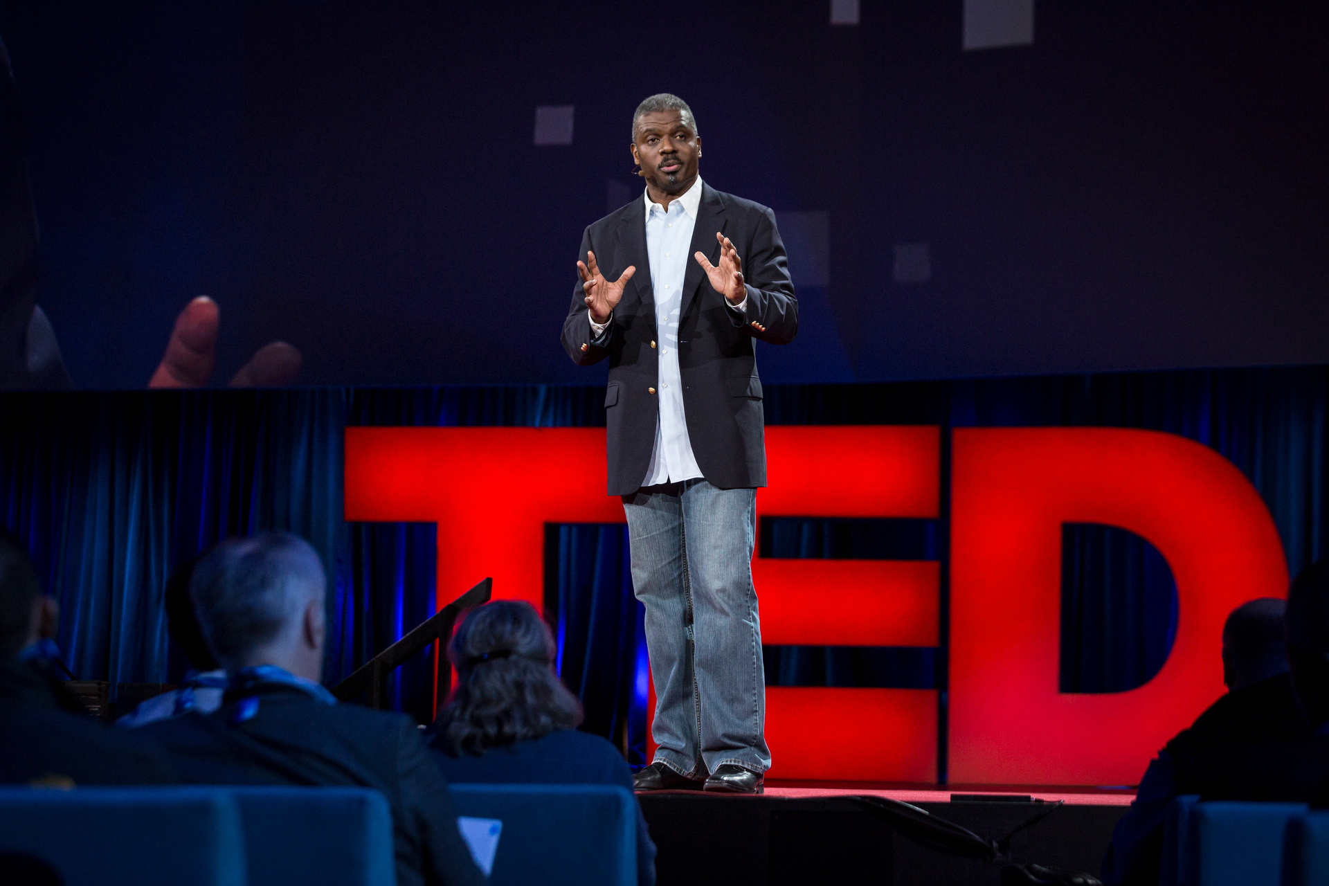Jeffrey Brown gives a powerful talk at TED2015 about how he, a Baptist minister, learned to work with drug dealers and gang members to reduce violence. Photo: Bret Hartman/TED