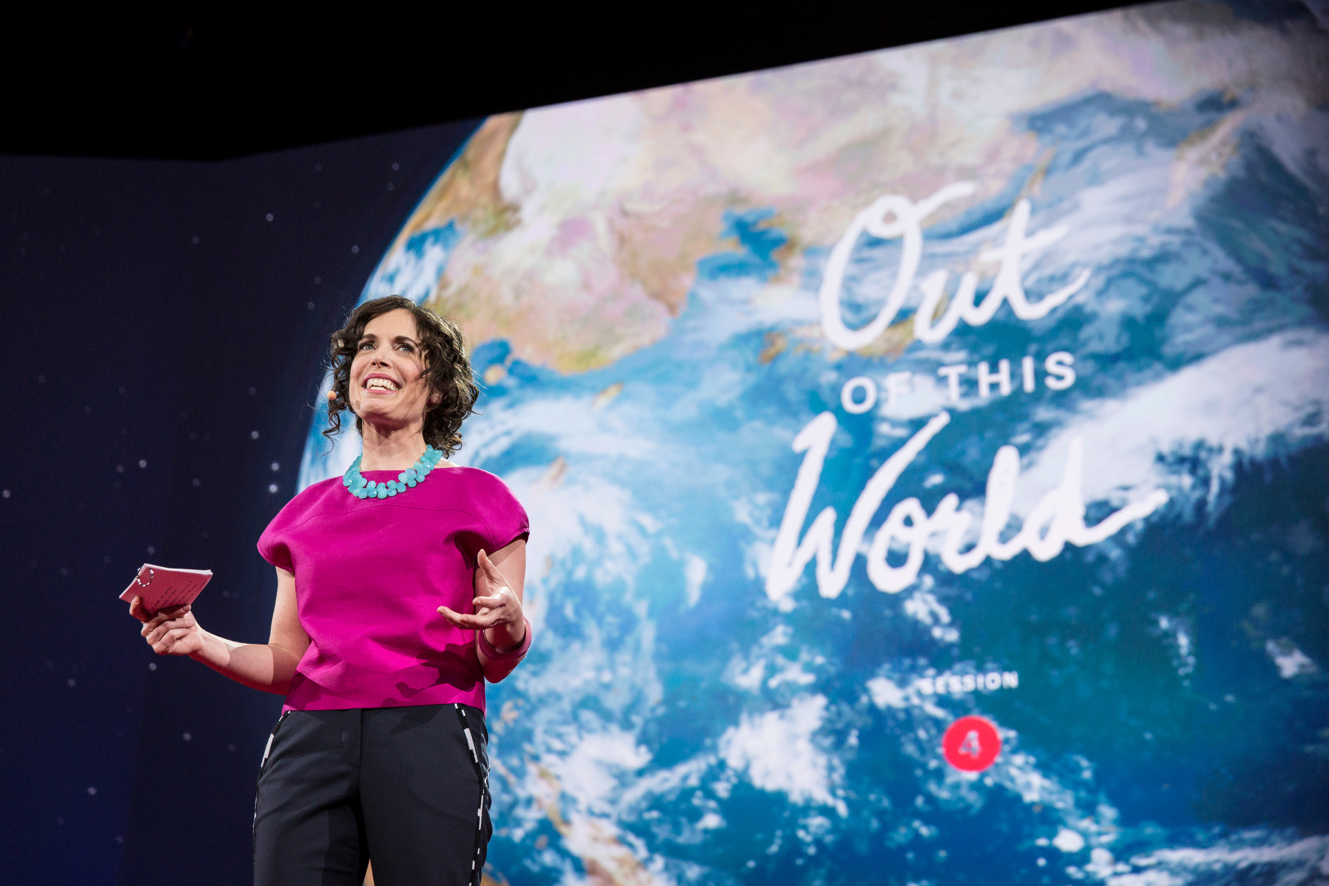 """June Cohen hosts a session on space, called """"Out of This World."""" Photo: Bret Hartman/TED"""