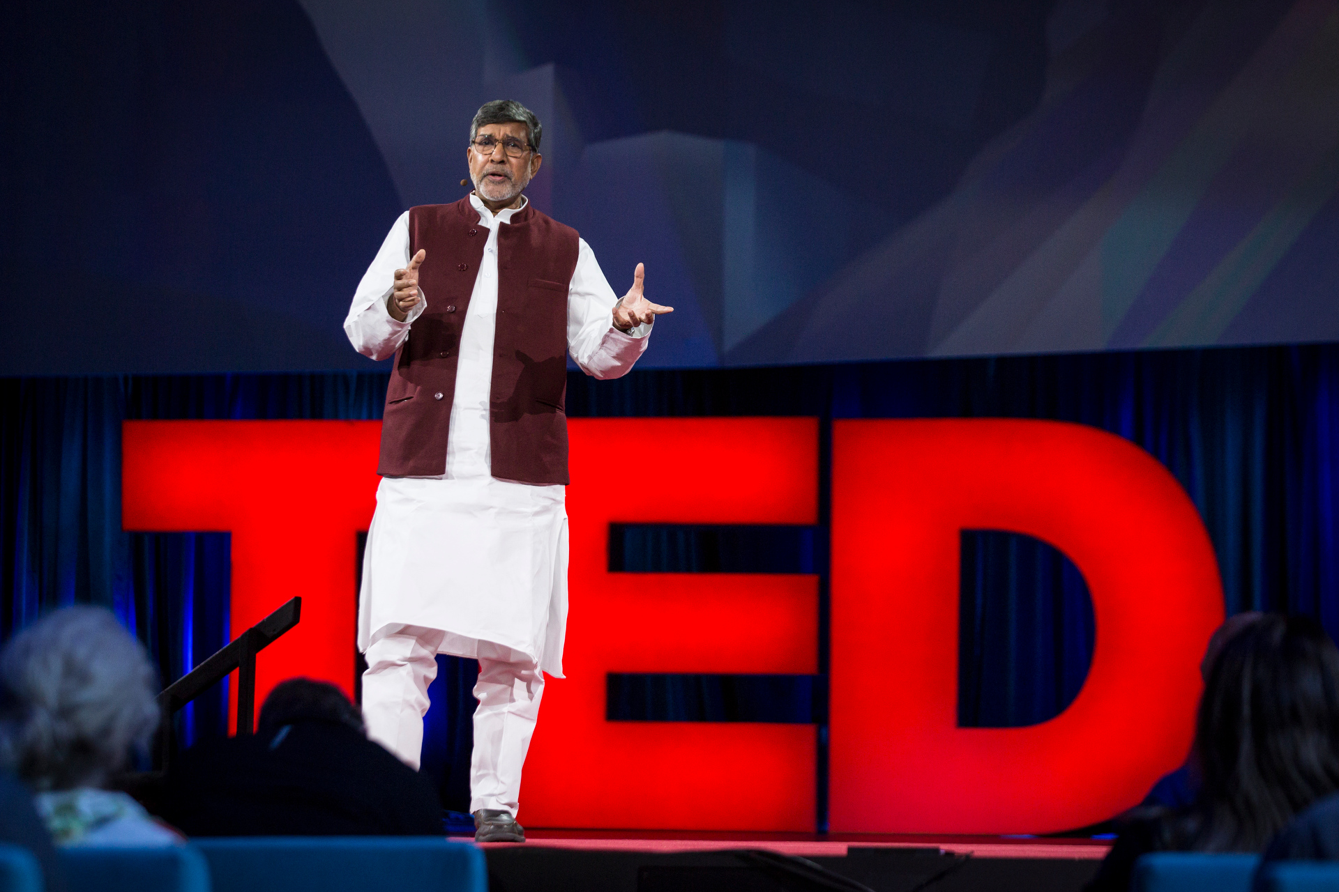 Kailash Satyarthi speaks at TED2015 - Truth and Dare, Session 12. Photo: Bret Hartman/TED
