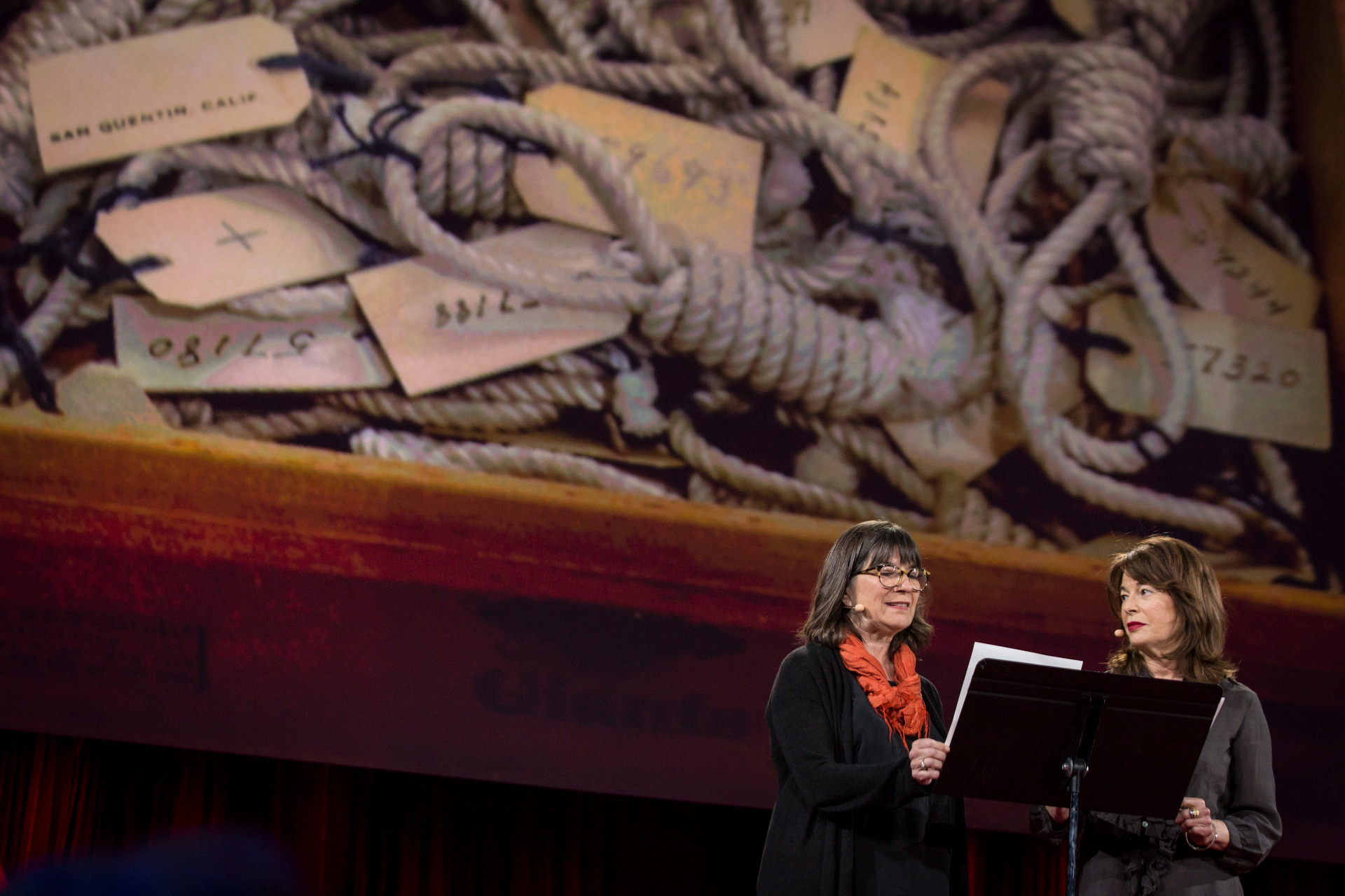 """The Kitchen Sisters tell the story of """"Wall Street,"""" a prisoner at San Quentin who is a natural at trading stocks, during Session 8. Read more. Photo: Bret Hartman/TED  http://blog.ted.com/pop-up-magazine-the-engrossing-talks-of-session-8-of-ted2015/"""