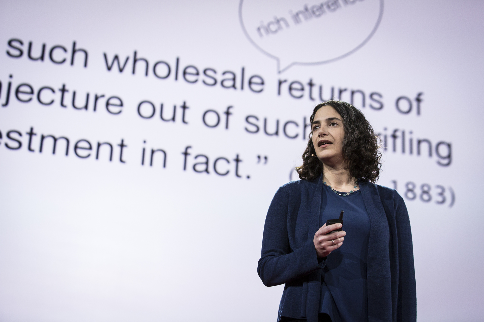 Laura Schulz talks about how science draws conclusions from small samples—a task that humans learn to do quite well as infants. Photo: Bret Hartman/TED
