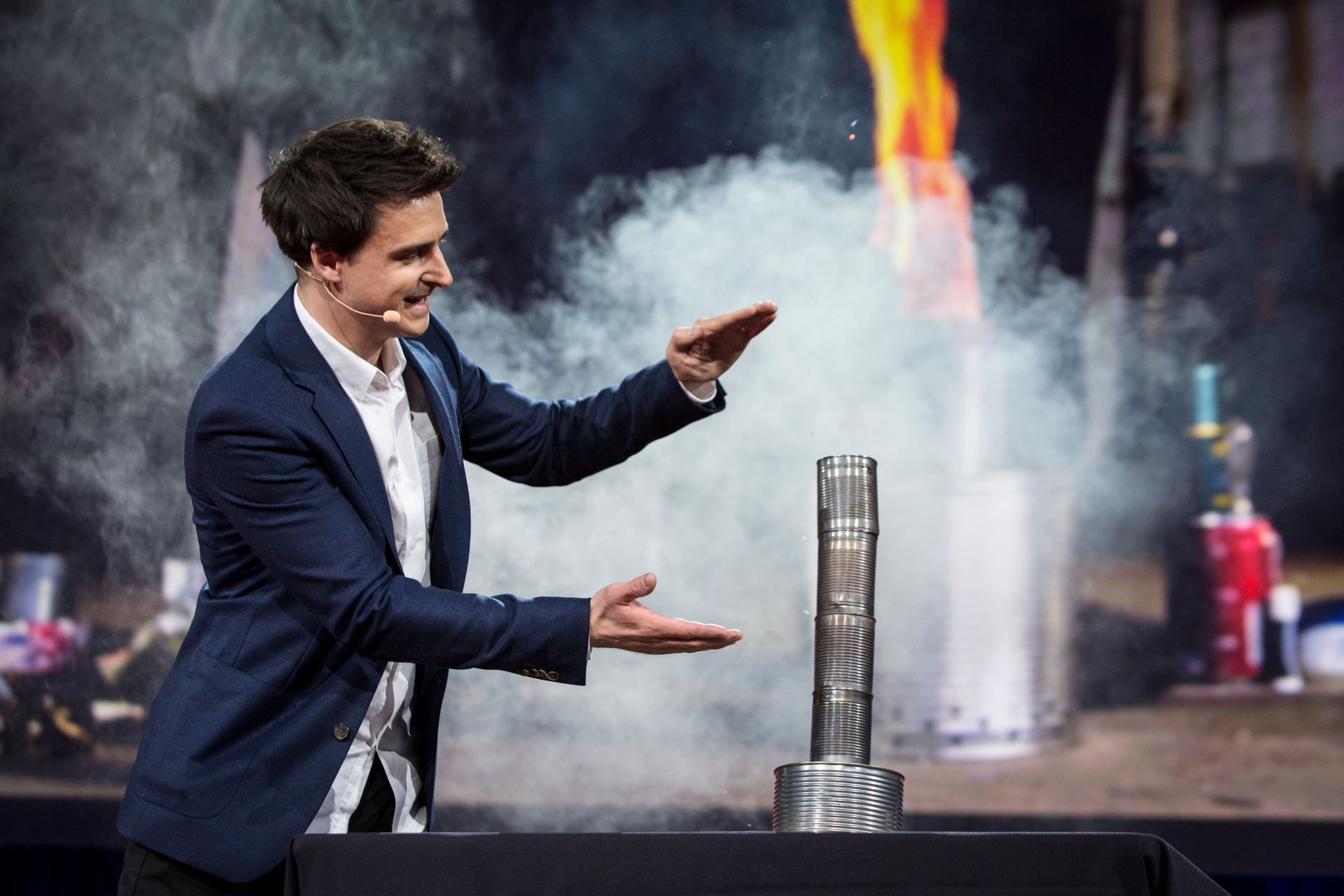 """Lewis Dartnell shows his """"gasifier stove,"""" which could help society rebuild after an apocalypse. Read more about his talk. Photo: Bret Hartman/TED http://blog.ted.com/how-to-rebuild-our-world-from-scratch-using-science-lewis-dartnell-at-ted2015/"""
