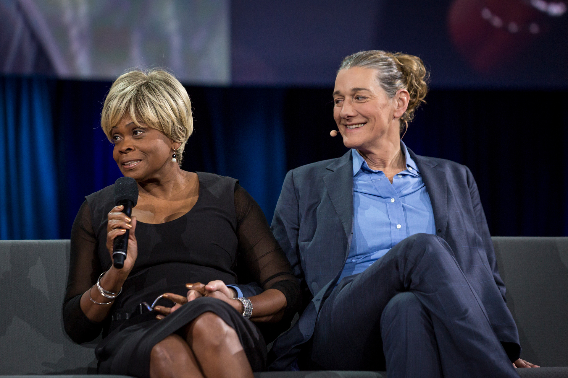 Bina Aspen and Martine Rothblatt speak at TED2015 - Truth and Dare, Session 5. Photo: Bret Hartman/TED