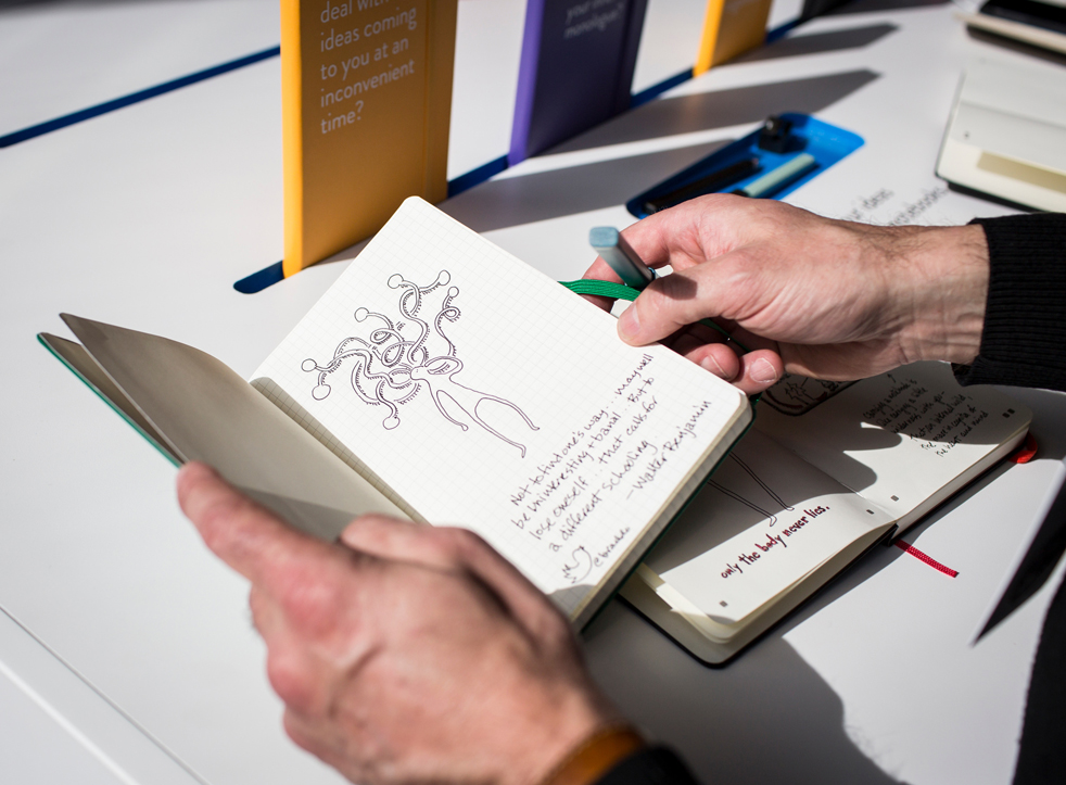 At Moleskine's #IdeasNoted exhibit at TED2015, illustrator Brad Ovenell-Carter took image-focused notes on the conference in a Smart Notebook that makes digital sharing of the written word easy. Photo: TED