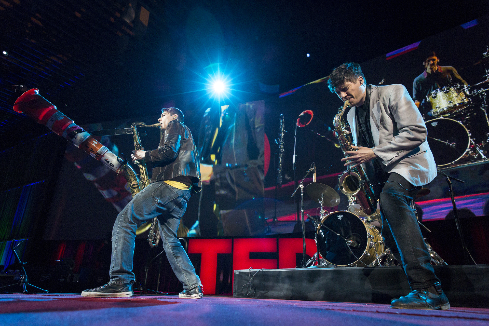 Moon Hooch performs at TED2015 - Truth and Dare, Session 1. Photo: Bret Hartman/TED