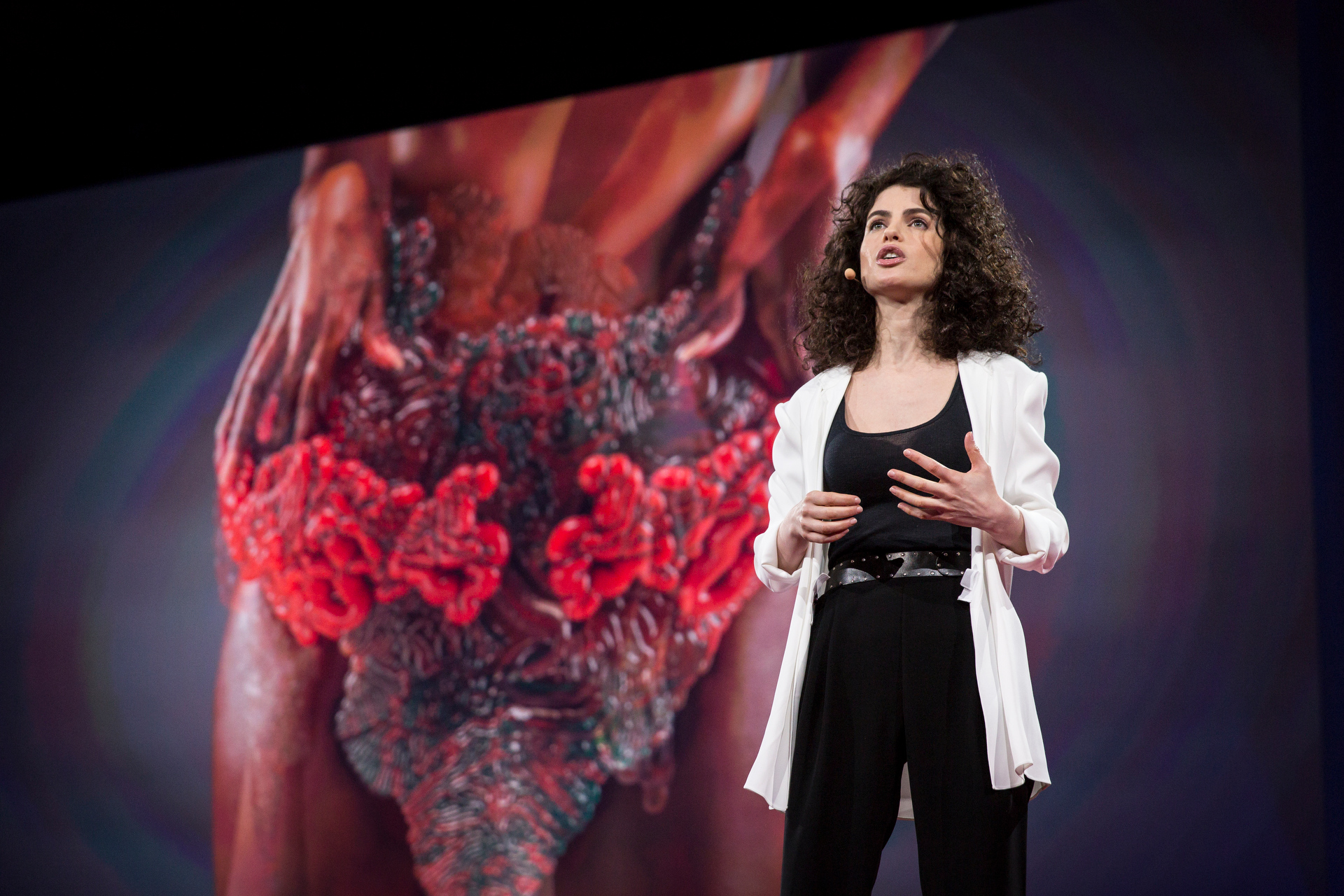 """Neri Oxman wows the audience with the """"first wearable digestive system."""" Read more about her talk. Photo: Bret Hartman/TED http://blog.ted.com/creative-ignition-a-recap-of-the-fiery-talks-in-session-10-of-ted2015/"""