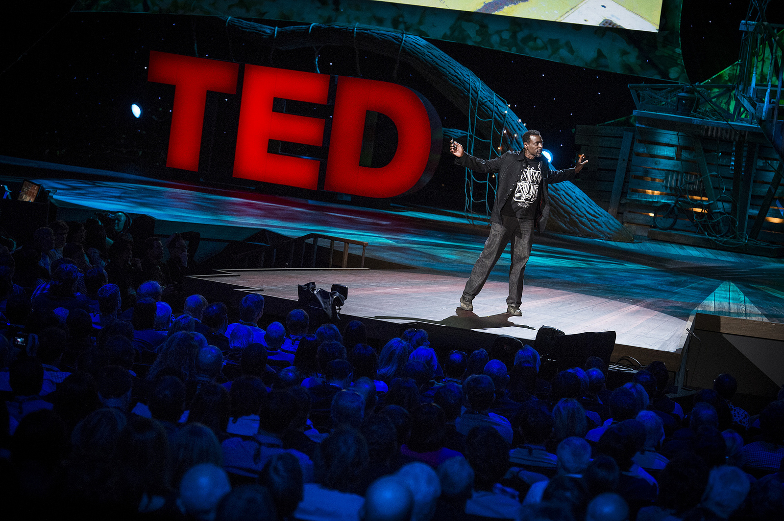 Ron Finley's work boots simply helped him feel like himself on stage. Photo: James Duncan Davidson/TED