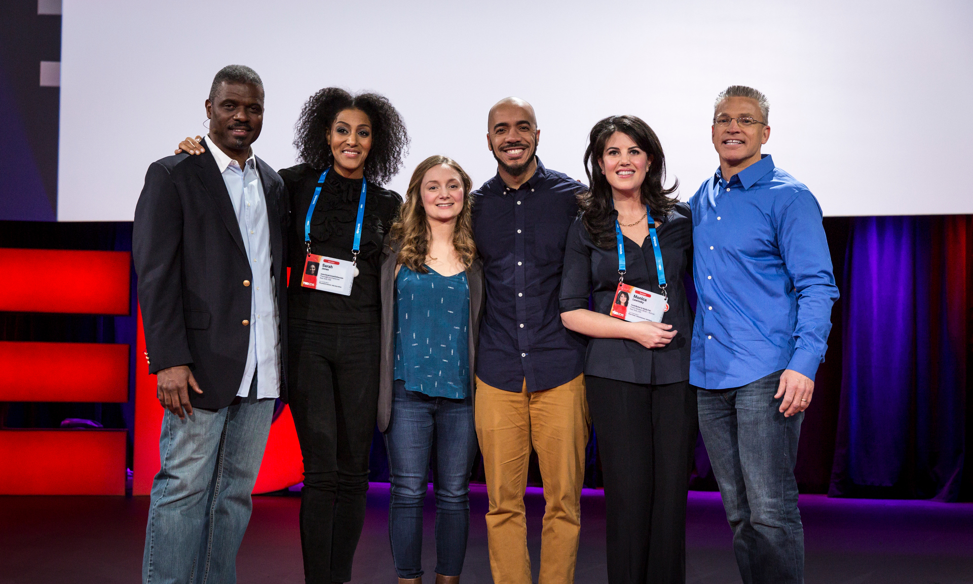 Session 9 speakers: Rev. Jeffrey Brown, Sarah Jones, Alice Goffman, Clint Smith, Monica Lewinsky, and Gary Haugen, TED2015 - Truth and Dare, Session 9. Photo: Bret Hartman/TED