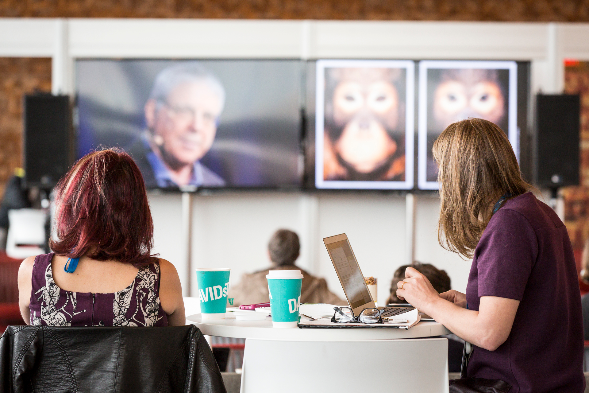 TED2015 attendees enjoy a talk in a simulcast lounge.
