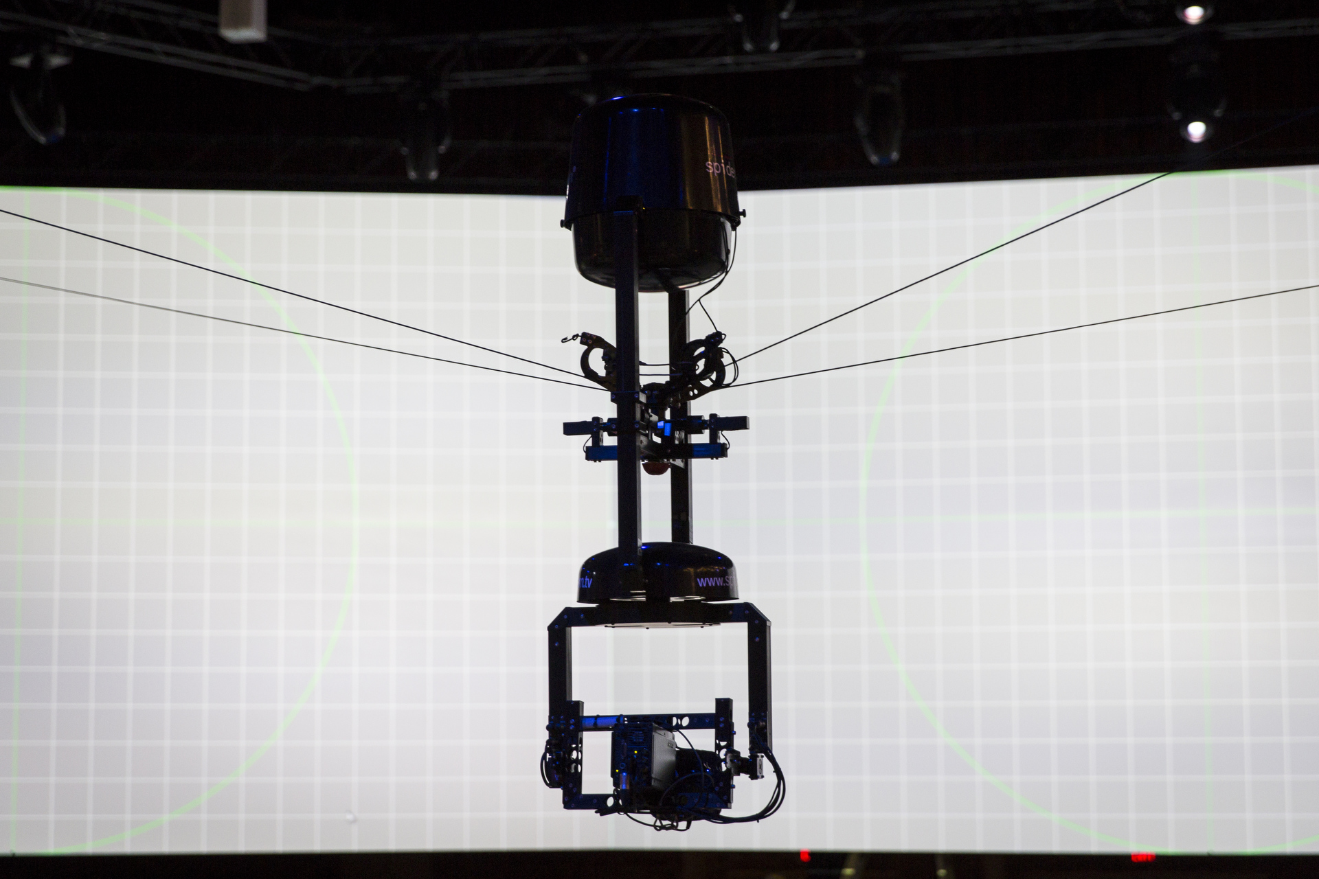 The Spidercam and its four cables. Photo: James Duncan Davidson/TED