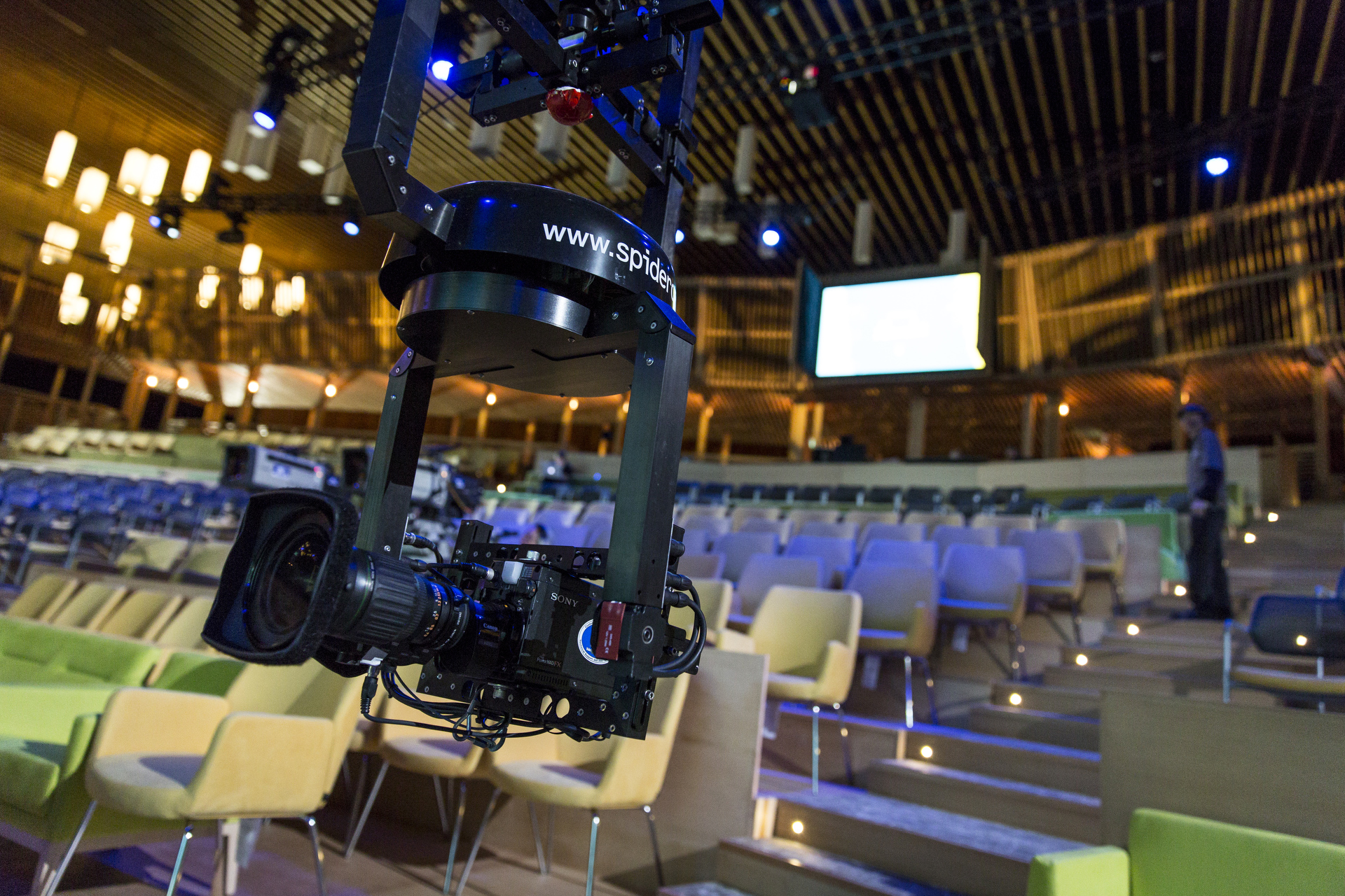 The Spidercam gets set up in the TED2015 theater. Photo: James Duncan Davidson/TED