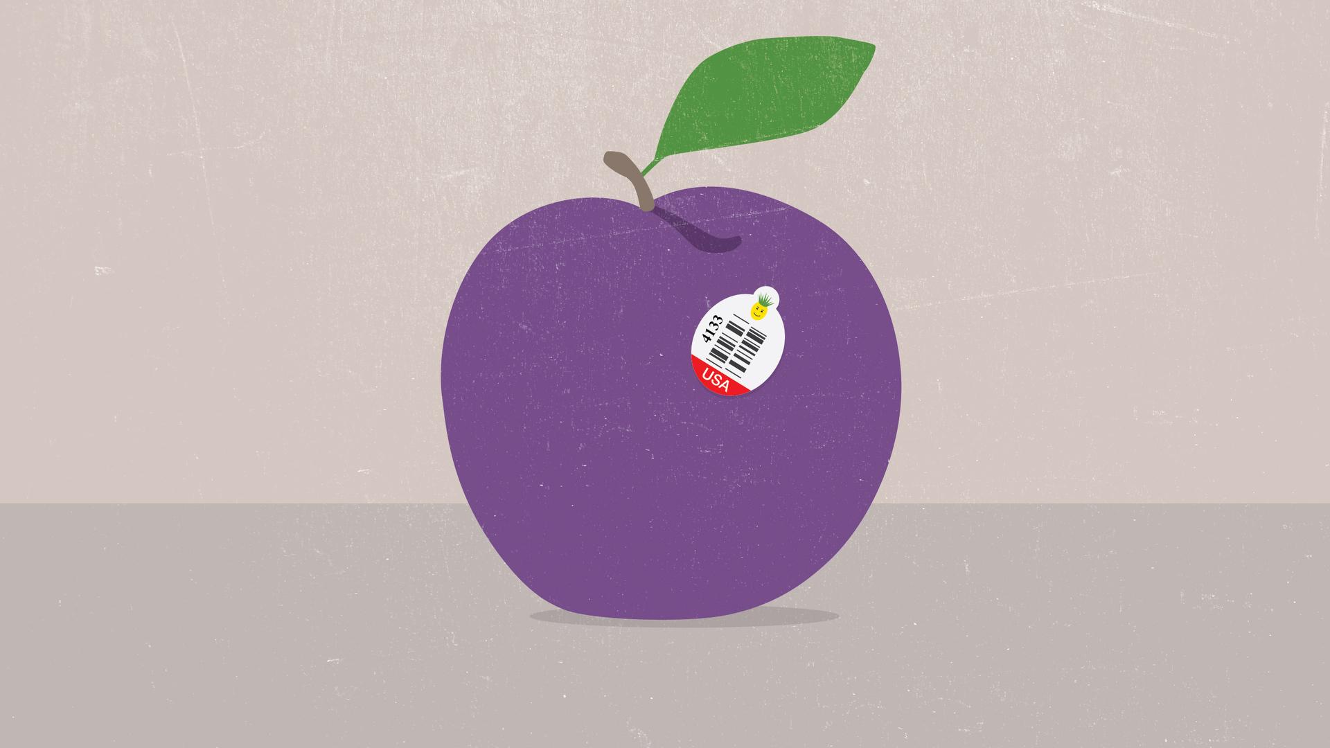 Sticker on fruit