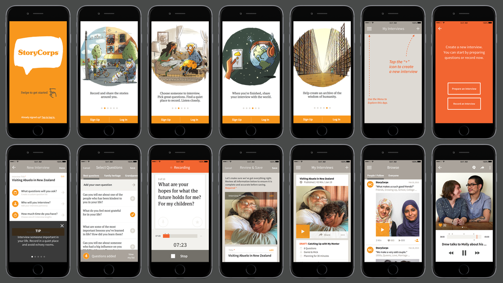 The newly launched StoryCorps apps helps you pick questions, time your interview, and upload it to the Library of Congress.