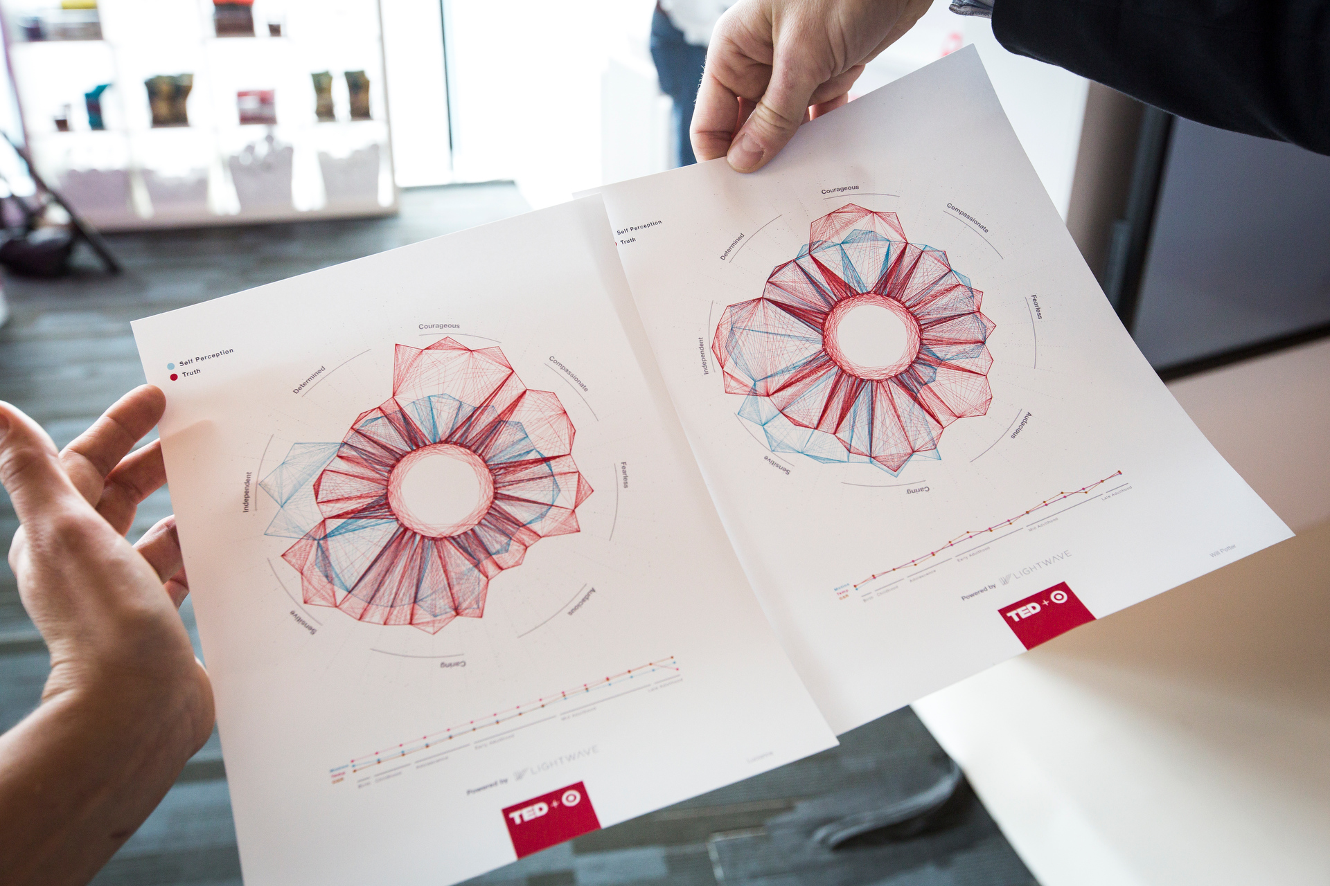 Attendees got an unusual look at their personality via beautiful designs, in Target's The Daring Truth Café. Photo: Ryan Lash/TED