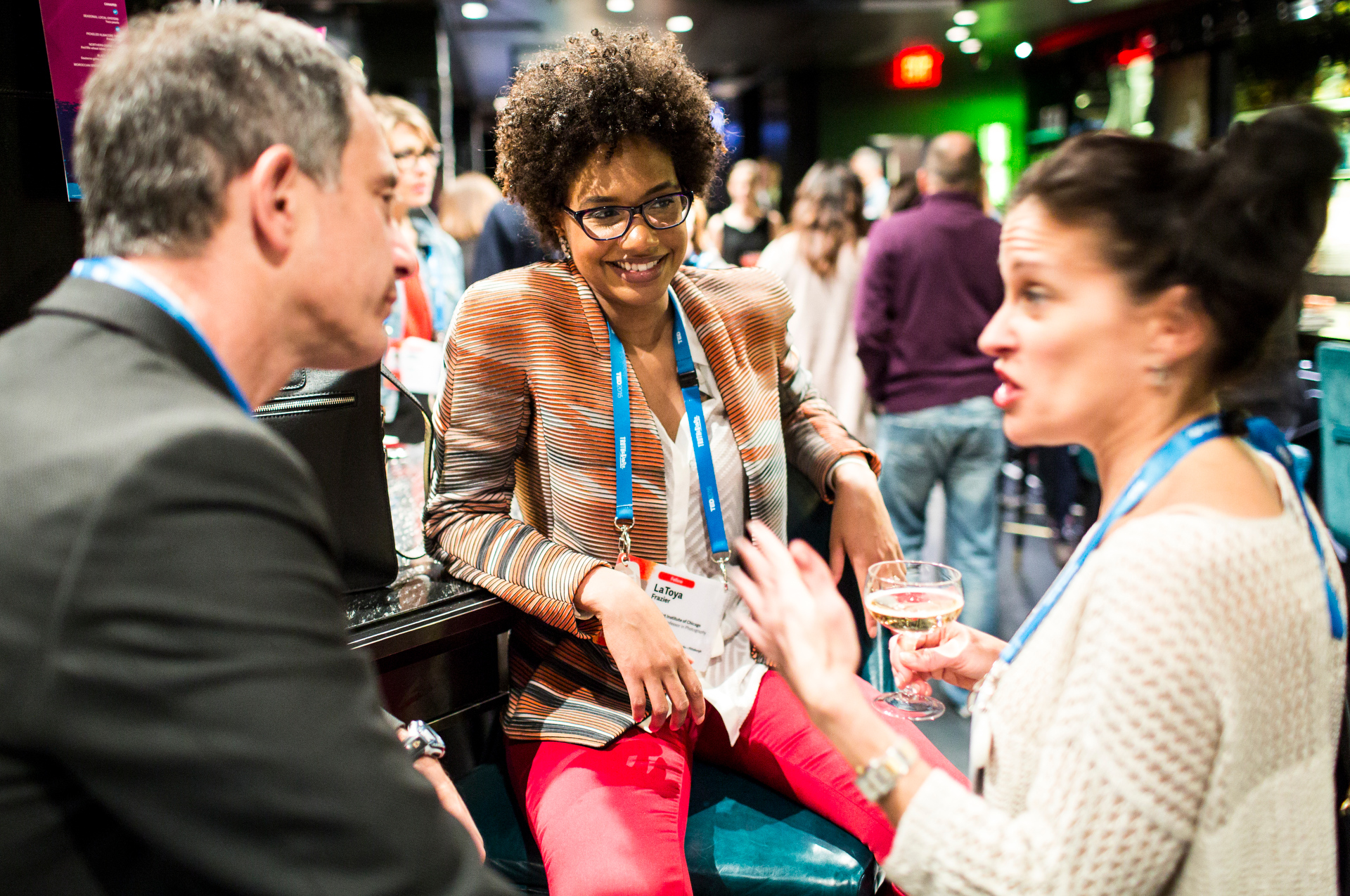 Attendees chat at a TED prize dinner, celebrating Dave Isay. Photo: Ryan Lash/TED