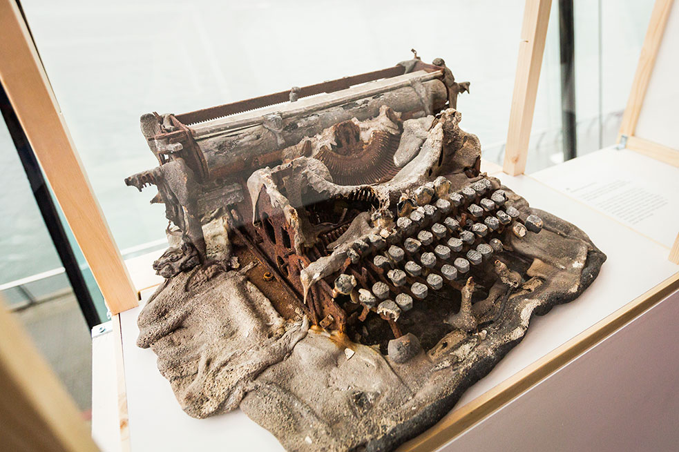 The object JR selected? A burnt-up typewriter, from Tunisia. Photo: Ryan Lash/TED