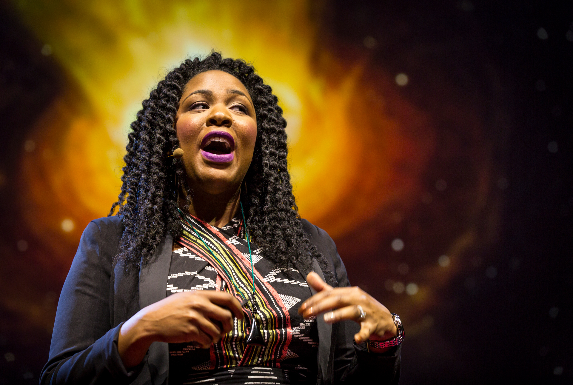 Astronomer Jedidah Isler on the wonder of blazars during Fellows session 1, TED2015 - Truth and Dare, March 16-20, 2015, Kay Meek Center, West Vancouver, Canada. Photo: Ryan Lash/TED