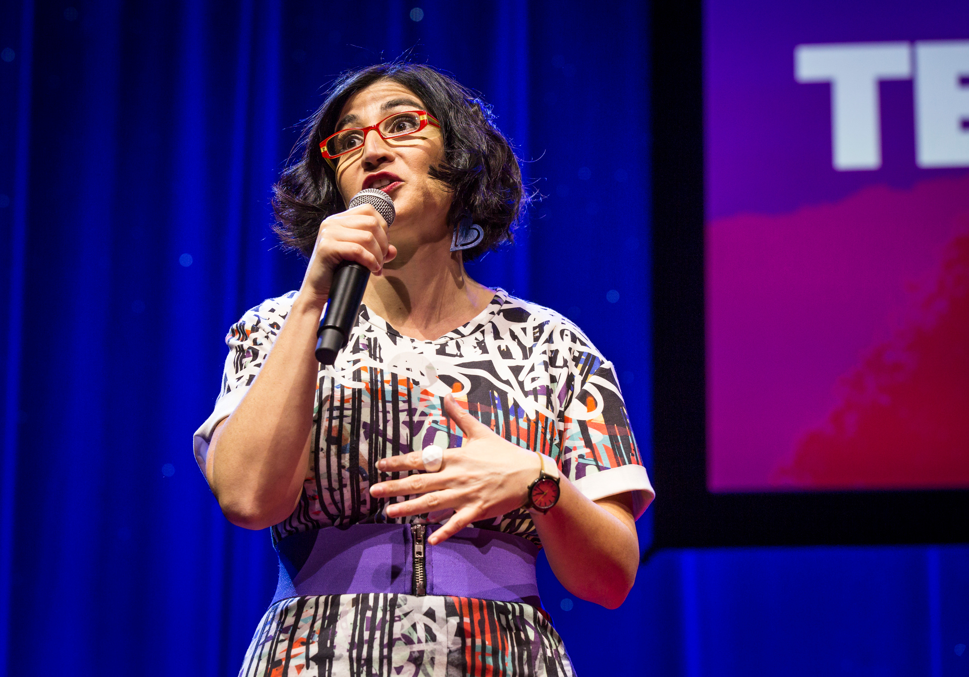 Negin Farsad skewers the Iranian-American experience at Fellows session 1, TED2015 - Truth and Dare, March 16-20, 2015, Kay Meek Center, West Vancouver, Canada. Photo: Ryan Lash/TED