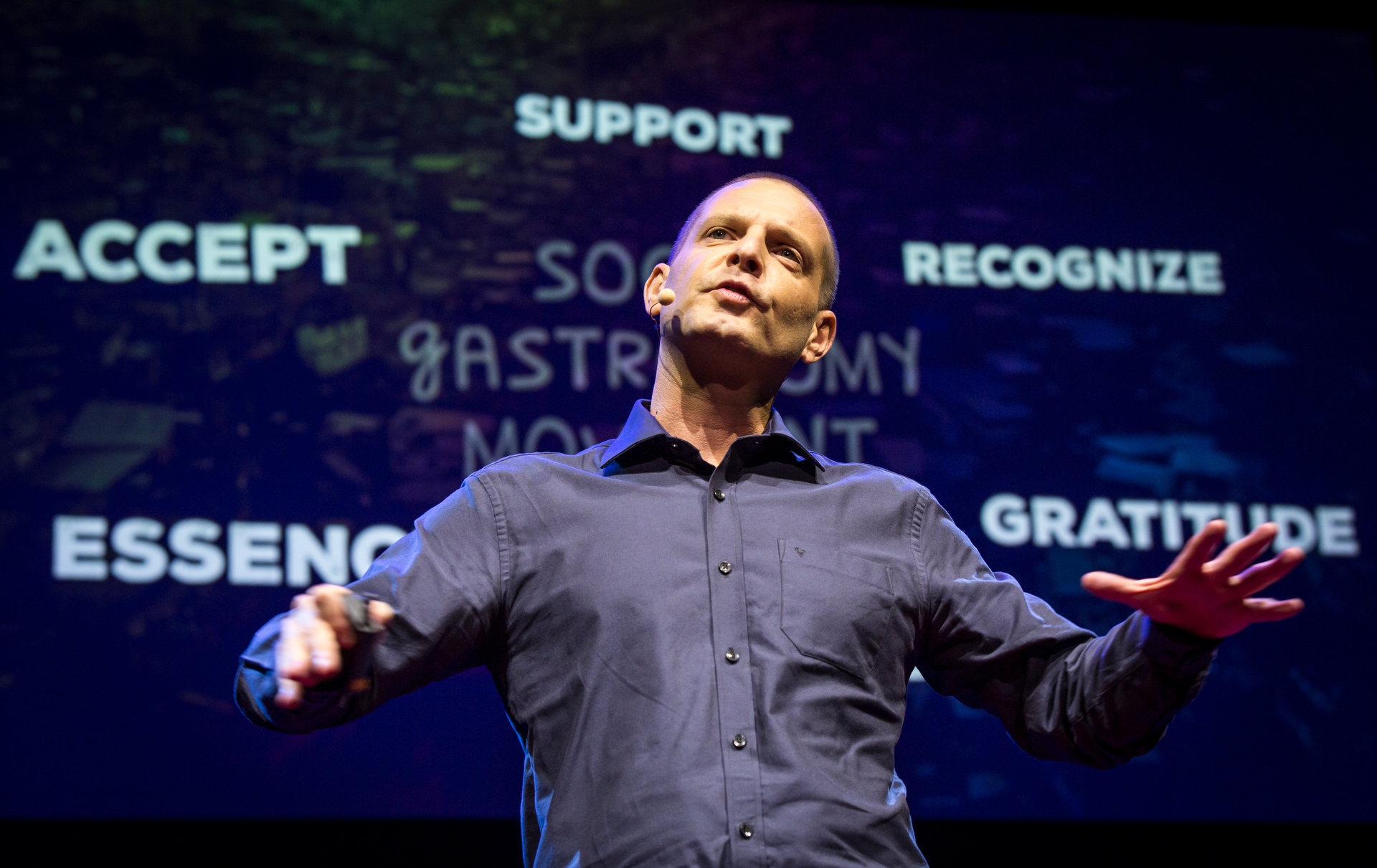 David Hertz on the power of food to transform millions of lives through empowerment, social development, values and skills. Fellows session 2, TED2015 - Truth and Dare, March 16-20, 2015, Kay Meek Center, West Vancouver, Canada. Photo: Ryan Lash/TED