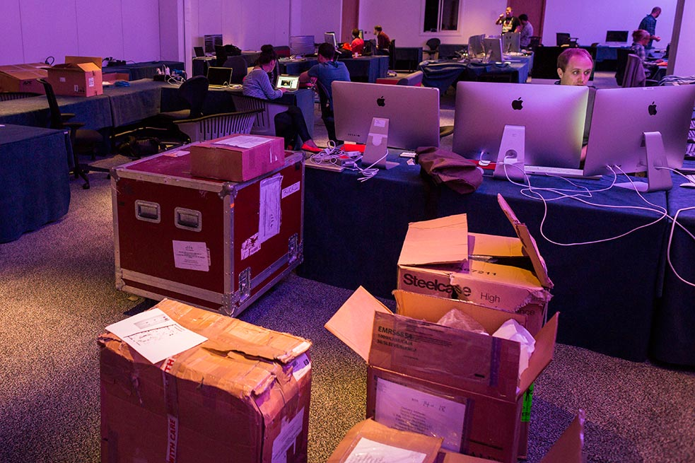 """Boxes and crates get unpacked in our video team's """"media cave."""""""
