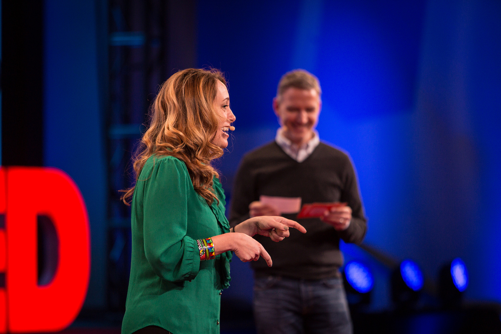 Kelly Stoetzel and Jay Herratti host TEDActive 2015, held in parallel to TED in Whistler. Photo: Marla Aufmuth/TED