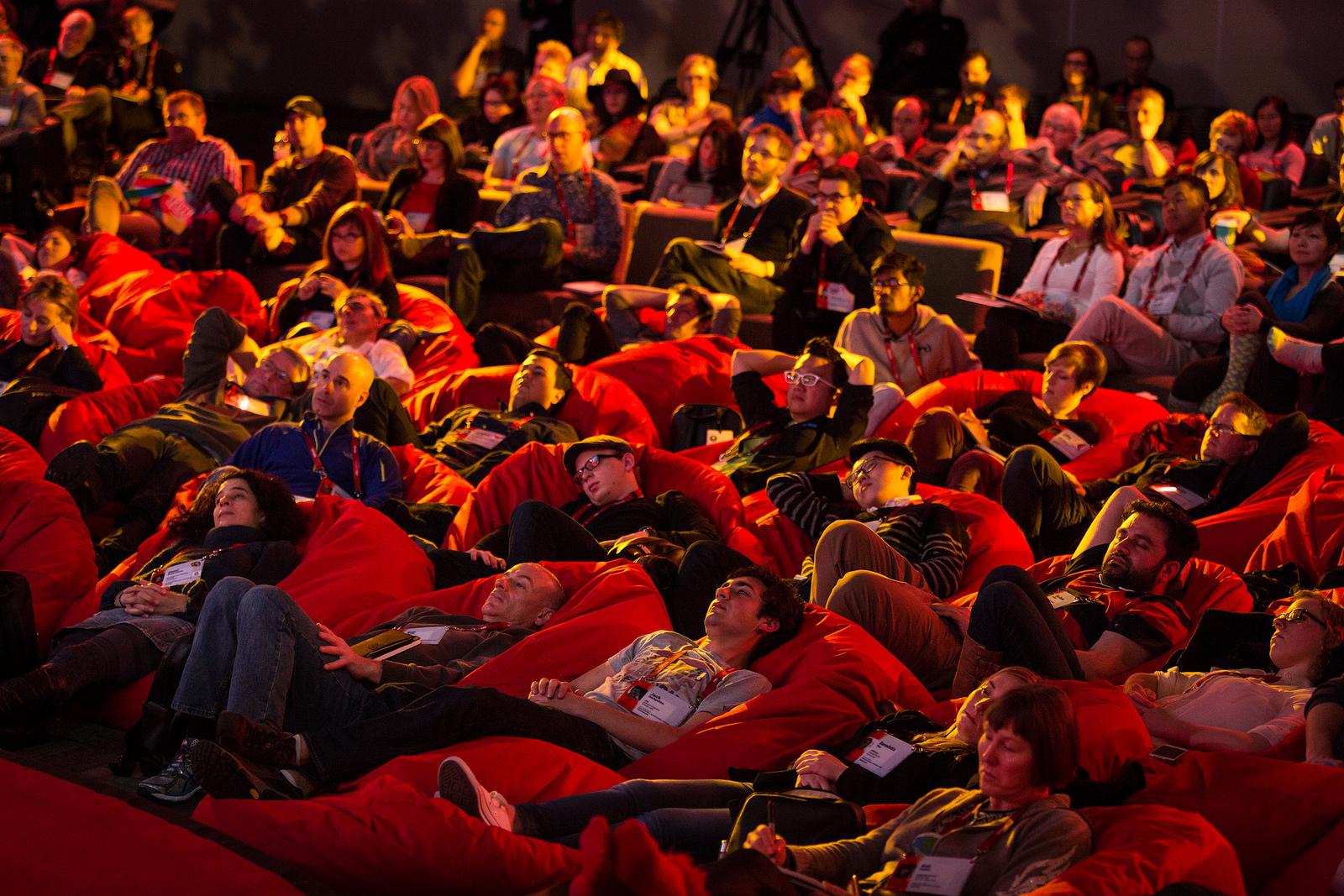 TEDActive 2015 attendees enjoy their bean bag seats. Photo: Marla Aufmuth/TED