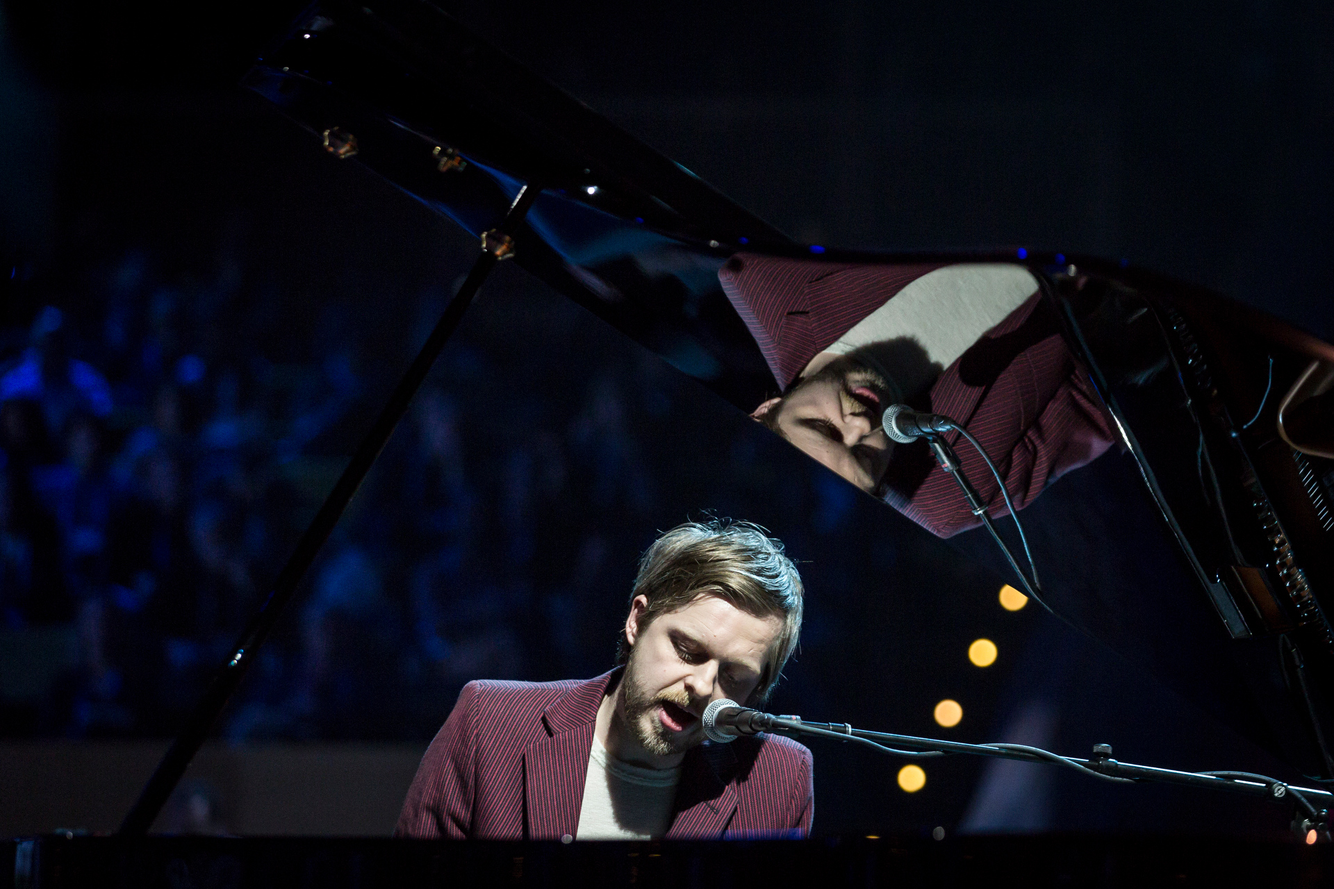 """Teitur plays """"Home,"""" a simple tune: """"Home is the sound of birds early in the morning / Home is the song I always remembered."""" Photo: Bret Hartman/TED"""
