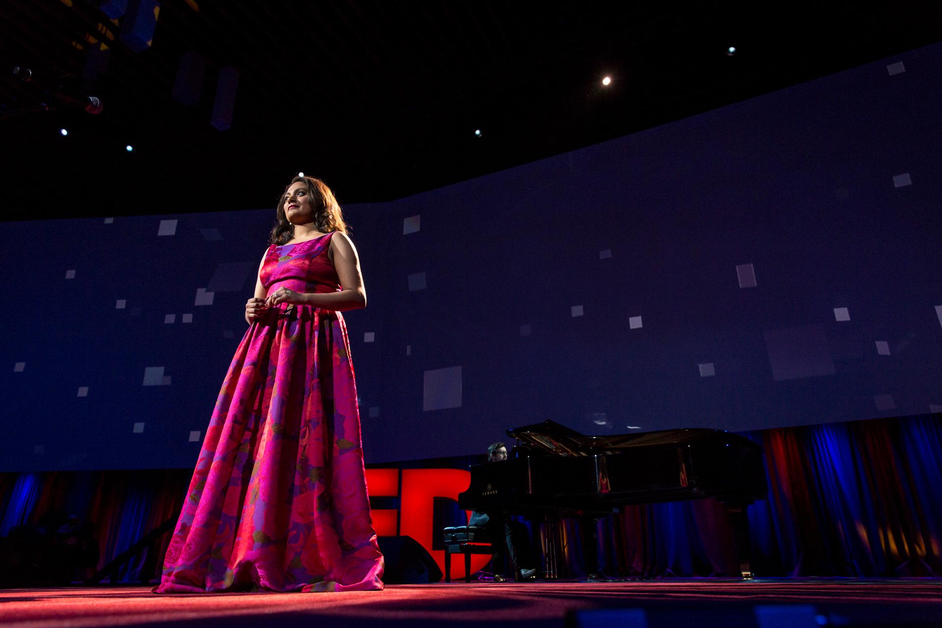 Sri Lankan opera singer Tharanga Goonetilleke, a TED Fellow, takes the stage. Photo: Bret Hartman/TED