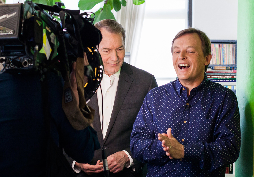 Charlie Rose of 60 Minutes interviews TED Curator Chris Anderson in TED's New York office. Photo: Dian Lofton/TED