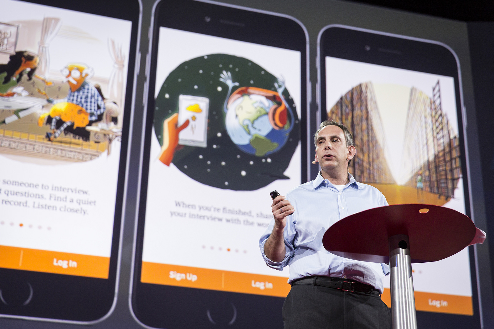 Me on stage at TED2015, revealing our app for the very first time. Photo: Bret Hartman/TED