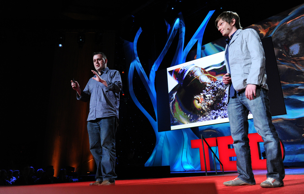 Cantu and Roche talk about their food experiments at TED2011. Photo: TED